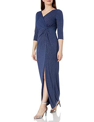 Alex Evenings Women's 3/4 Sleeve Long Dress with Cinched Tie Waist, Evening Blue, 10