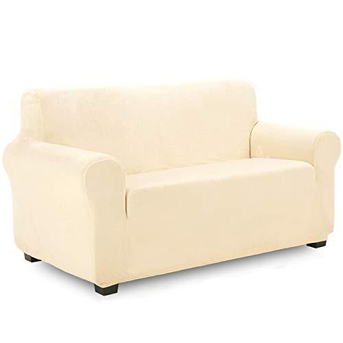 TIANSHU Funda de Sofá 2 Plazas Terciopelo,Cubierta Suave del sofá de la Felpa del Terciopelo para,Cubiertas Elegantes de los Muebles de Lujo(2 Plazas,Marfil)