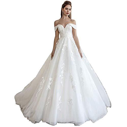 Hochzeitskleider Schulterfrei A Linie Lang V-Ausschnitt Damen Spitze Tüll Lang Brautkleider,Elfenbein,36