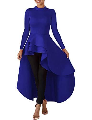 Lrady Women Ruffle High Low Asymmetrical Long Sleeve Peplum Tops Blouse Shirt Dress, Blue, 3XL