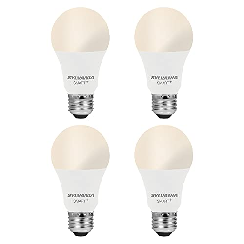 SYLVANIA Smart WiFi LED Light Bulb, A19 60W Equivalent, Efficient 9W, Compatible with Alexa and Google Assistant, Dimmable, 800 Lumens, Soft White - 4 Pack