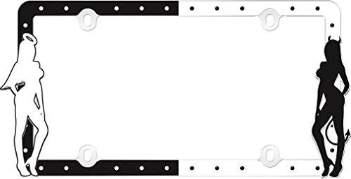 Cruiser Accessories 19000 Angel & Devil License Plate Frame, Black/White