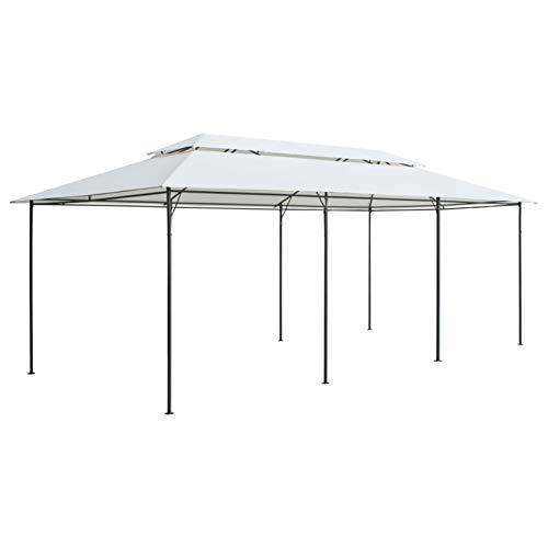 Tidyard Cenador Pabellón de Jardín Cenador con Doble Techo Protección Solar 600x298x270 cm Blanco 180g/m²
