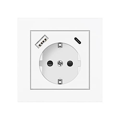 Altopbum Enchufe de Pared, 3 en 1 Tomas de Corriente pared Schuko Enchufe con USB y 1 Tipo C (5 V 3.4A) para el Smartphone Tableta Cocina Dormitorio Oficina Hotel, etc