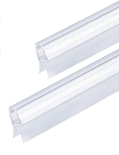 MAALIMA - 2x Duschtür Dichtung, Duschdichtung, Seal, 100cm lange Gummilippe - für 6mm, 7mm, 8mm Glasdicke - Duschleiste mit Wasserabweiser, Spritzschutz an der Dichtung für Duschwanne (2x 100 cm)