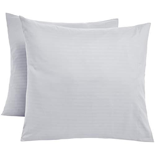 Amazon Basics Taies d'oreiller en microfibre haut de gamme - 65 x 65 cm x 2, Blanc éclatant