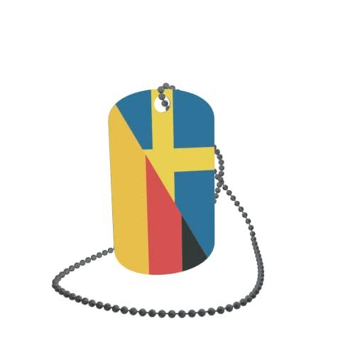 Dog Tag - Targhetta identificativa ID Tag sulla catena, bandiera della Svezia, 30 x 50 mm