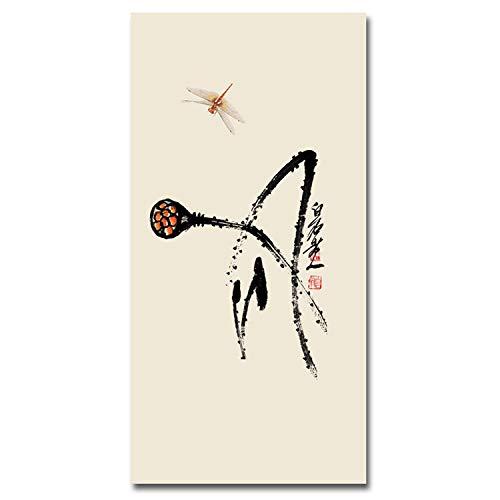 Honey bear Art Painting Moderno Lienzo de Tinta China Lotus Qi Baishi, imágenes para Sala de Estar, póster e Impresiones para Pared, Lc7001, 30x60cm No Frame