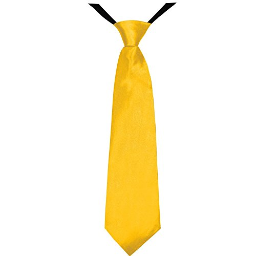 Soul-Cats® Jungen Krawatte 35 cm vorgebunden Seiden Look Hochzeit Kommunion Jugendweihe, Farbe:gelb