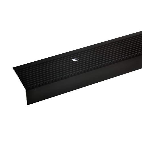 acerto 32522 Aluminium Treppenwinkel-Profil - 100cm, 20x40mm, bronze dunkel * Rutschhemmend * Robust * Leichte Montage | Treppenkanten-Profil, Treppenstufen-Profil aus Alu | Gelochtes Stufenkanten-Profil, Treppenprofil