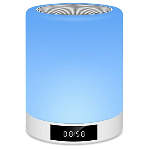 PBTRM Lámpara Reloj Despertador Altavoz Bluetooth Portátil, Control Táctil Luces Colores, Altavoz, Radio FM, Lectura Tarjeta TF, Conexión AUX, Carga USB, para Escritorio, Habitación
