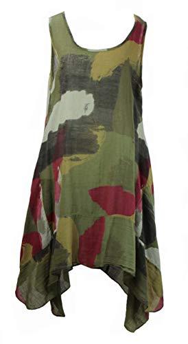 BZNA Leinen Tunika Kleid Grün Kleid Leinentunika Shirtkleid 36 38 40 42 one size Damen Dress Oberteil elegant