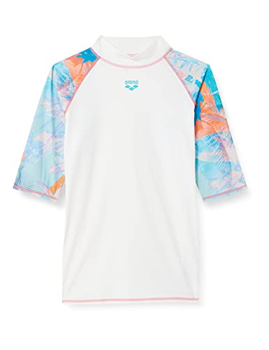 ARENA W Rash Vest S/S Allover, Maglia Donna a Maniche Corte, con Protezione UV, Bianco/Asphalt Multi, S
