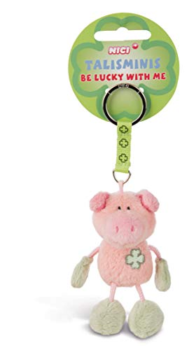 NICI 33687 33687-Schwein Beanbag Schlüsselanhänger Talismin 7 cm, rosa-grün