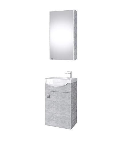 Planetmöbel Badmöbel Set Gäste WC Waschtischunterschrank Keramikwaschbecken Spiegelschrank (Komplettset, Beton)