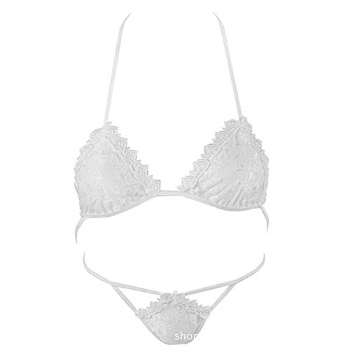 Pure White Sexy Triangle Cup Soft Cup T Broek Thong dames Ultradunne ondergoed set ZHQHYQHHX (Color : White, Size : One size)