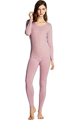 SANQIANG Women's Exposed Waistband Thermal Underwear Set Cotton Long Johns Set Base Layer Tagless Top & Bottom(US Size M (Tag Reads XL),DarkPink)
