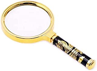 LYX 80mm Dragon Pattern Handle 10 Times Handheld Magnifying Glass Reading Elderly Children HD Retro Magnifying Glass