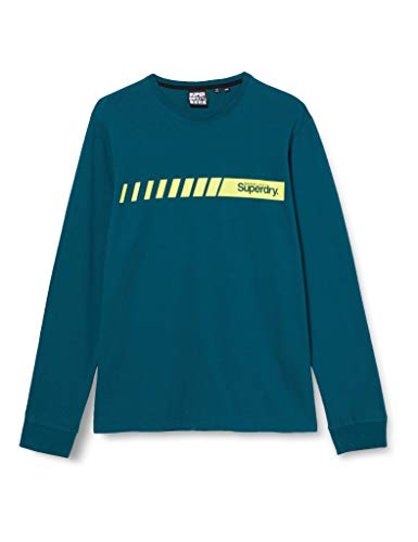 Superdry Core Logo Sport Stripe Top T-Shirt À Manches Longues, Bleu (Deep Teal GCO), S Homme
