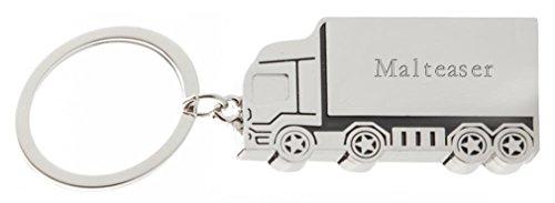 SHOPZEUS gravierter Metall Lkw Schlüsselanhänger mit Aufschrift Malteaser (Vorname/Zuname/Spitzname)