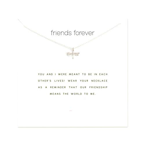Idiytip Women Necklaces Sterling Silver Pendant Gold Plated Necklace Jewellery for Ladies Girls,Dragonfly Silver+White Card