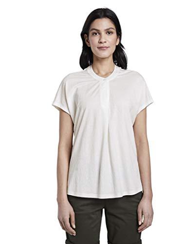 TOM TAILOR Damen T-Shirts/Tops T-Shirt mit Henley-Ausschnitt Whisper White,XL,10315,2000