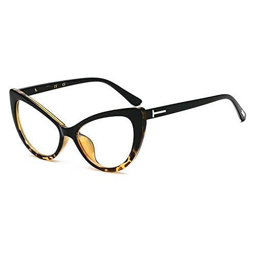 NIUASH Gafas de Sol polarizadas Gafas de Sol de Ojo de Gato con patrón de Flores Gafas de Sol de Moda para Mujer Gafas de Sol Vintage UV400 Lente Transparente Negra-E