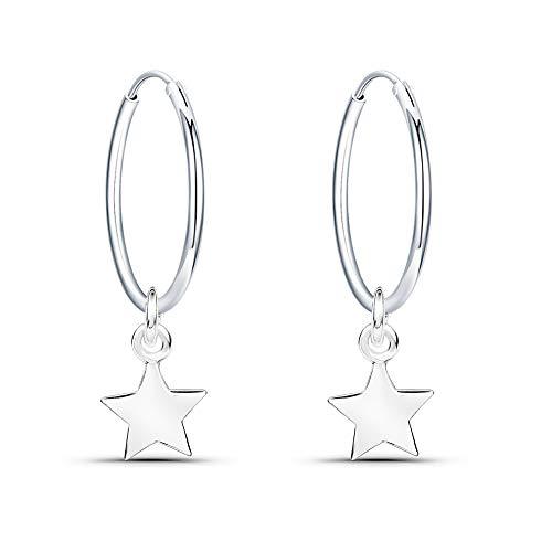 Fu You Pendientes de Plata de Ley 925 Pendientes de Aro con Estrella Pendientes Aro Diámetro 14 mm para Mujer Niña