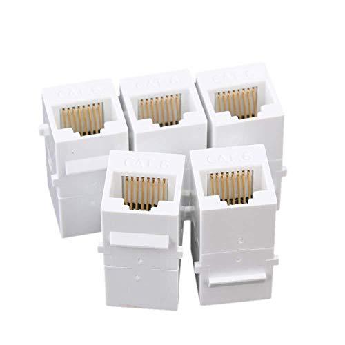 LXHY Equipo electronico Acoplador Keystone, Inserto de acoplador UTP RJ45 UTP - Conector Snap-in Socket Adapter Puerto para el Panel de Salida de la Placa de Pared Seguro y confiable (Color : White)