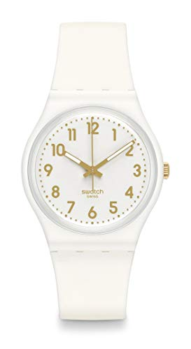 Swatch GW164 34 mm plastic kast wit rubber mineraal dameshorloge