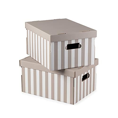 COMPACTOR Set di 2 Scatole in cartone ondulato, Con maniglie, Impilabili, Taupe, 40 x 31 x H.21 cm, RAN4583