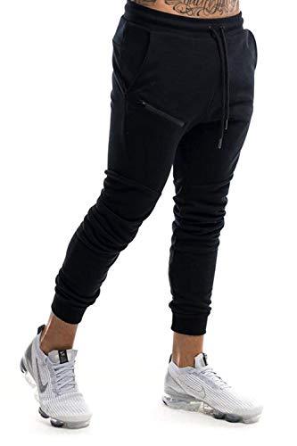 Yidarton Men's Sports Skinny Joggers Gym Running Slim Fit Tracksuit Bottoms Zip Pocket (Black, Medium)
