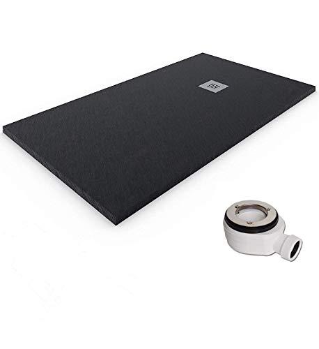 Plato de ducha de resina-antideslizante-textura pizarra-ral7021 (70x140, negro)