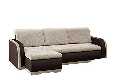mb-moebel kleines Ecksofa Sofa Eckcouch Couch mit Schlaffunktion und Bettkasten L-Form Polstergarnitur große Farbauswahl - VERO I (Ecksofa Links, Beige +...