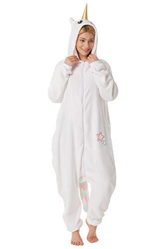 corimori 1852 Mia das Einhorn Damen Herren Onesie Jumpsuit Anzug Einteiler Kostüm Verkleidung Gr. 160 - 170cm, Weiß