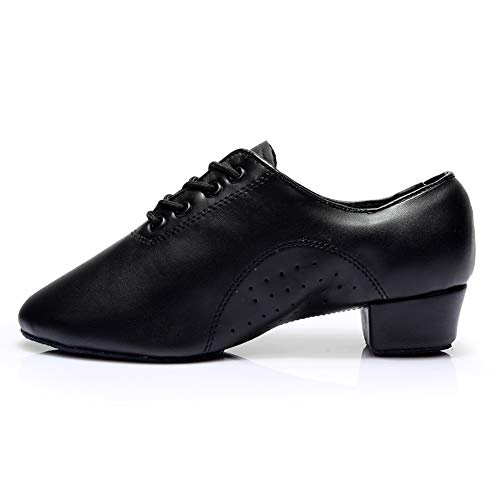 HROYL Little Boy/Big Kids/Men Dance Shoes Leather lace-up Ballroom Shoes for Latin Tango Salsa Dance Performence Shoes Black 6.5 (M) US Big Kid