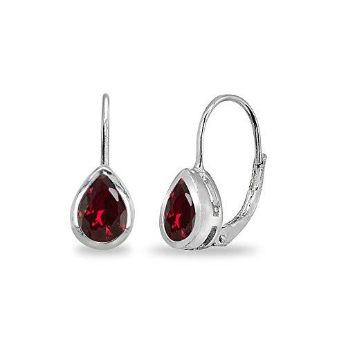 Sterling Silver Synthetic Ruby 7x5mm Teardrop Bezel-Set Dainty Leverback Earrings for Women Teen Girls