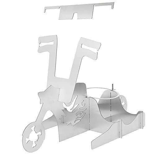 Kippenhouder, Draagbaar Motorfiets ontwerp Roman Grappig Roestvrij staal Bierblikje Hele kip Roosterrek met biersteunring, Stal Geschenken BBQ-standaard voor buitenrokergrill Familie bijeenkomst