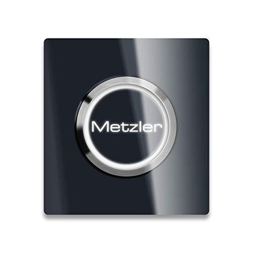 Metzler Moderne XL - LED-Türklingel - 80 x 80 mm - inklusive Gravur - beleuchteter Taster - austauschbarer Namensfeld/Namenschild - Anthrazit