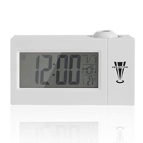ZHHZ Projektions-LCD-Uhr Display Sound Control Decke Projektionsuhr Alarm Snooze Date Temperatur (weiß)