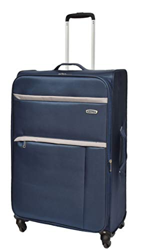 Large Check-in Size Super Lightweight Luggage 4 Wheel Suitcase Navy Bag Soft Case AR10