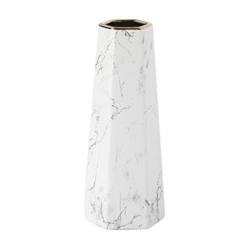 HCHLQLZ 30cm Weiß Gold Marmor Vase Keramik Vasen Blumenvase Deko Dekoration