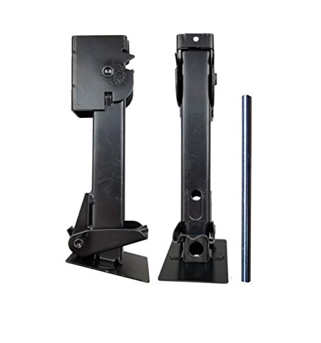 "Class A Customs | Pair of Telescoping Trailer Swing Down Stabilizer Jacks (1000lb Capacity Each) 12""-19"" | Includes 9"" Long Bar/Crank"