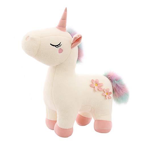 ZXGQF Mullido Juguete de Peluche, 1pcs Caricatura de Unicornio de Peluche - Suave Amortiguar Cómodo Abrazo Almohada, para niños niño niña Dormitorio (White,40cm)
