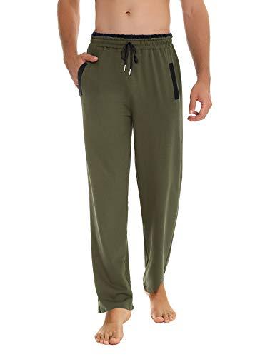 Akalnny Pantalones Hombre Casuales Deporte Elásticos Suelto Joggers Largos Pants con Bolsillos Adecuado para Trotar, Deportes, Fitness(Verde,XXL)
