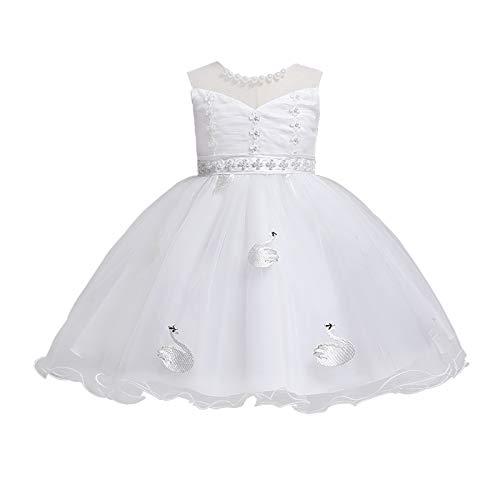 BOIYI Disfraz de Princesa Chicas Fancy Vestido de Cisne Princesa Flor Desfile de Nios Vestido de Cosplay de Carnaval, Halloween y la Fiesta de Cumpleaos Vestidos Vestido de Fiesta(Blanco,120)