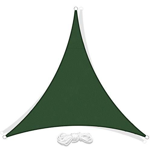 LIAOYI Toldo Vela de Sombra, Protección Rayos UV Impermeable Resistente Poliéster Toldo Vela para Patio Exteriores Jardín (5×5×5m, Verde Oscuro)