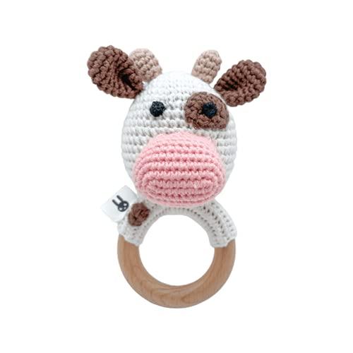 Adriana the cow - Sonajero mordedor hecho a mano para bebé a partir de 0 meses. Juguete dentición Montessori. Crochet/Amigurumi.