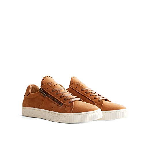 NoGRZ G. Leoni Damen Leder Sneakers mit Reißverschluss | Cognac EU 41