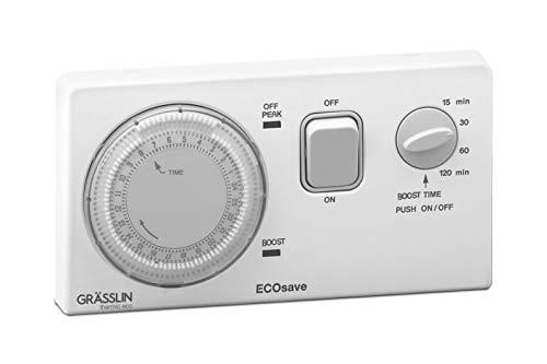GRÄSSLIN 04.33.0020.1 ECOsave Mechanische meertarief-timer, 1 kanaal, dagprogramma (ON/OFF), boost-functie, 15 minuten afstand, 230 V